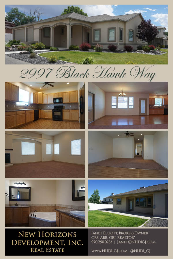 2997 Black Hawk Way is a 4 bedroom 2 bath 2659 sq. ft. home in Grand Junction, CO