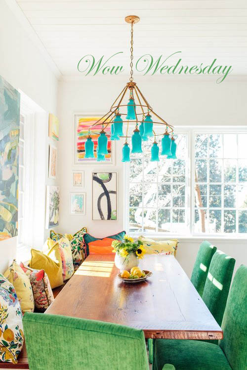 Wow Wednesday! Gorgeous dining room with teal art glass.