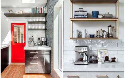 Coffee Bar Inspiration! Create a space in your home to keep all of your coffee making goodies, and save time in the mornings by having everything in one place!
