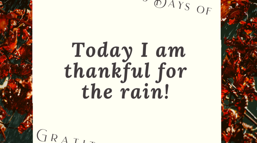 Today I am thankful for the rain! Gratitude Challenge: Day 21
