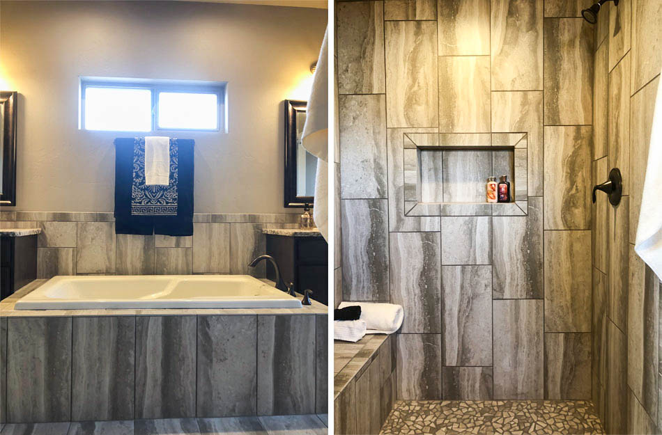 The master bath in 1305 Niblick has a roll-in shower with a built in seat and shampoo shelf, and a soaking tub with custom tile surround flanked by storage vanities.