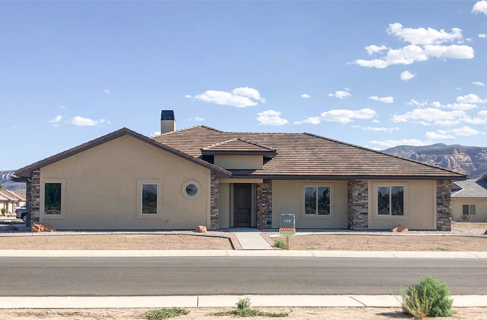1484 Shoreline Drive, Fruita is a 3 bedroom, 2 bath home in Adobe Falls. This new construction home has LVP flooring throughout the home (except bedrooms), contemporary neutral colors, granite countertops, and custom tilework in the bathrooms.