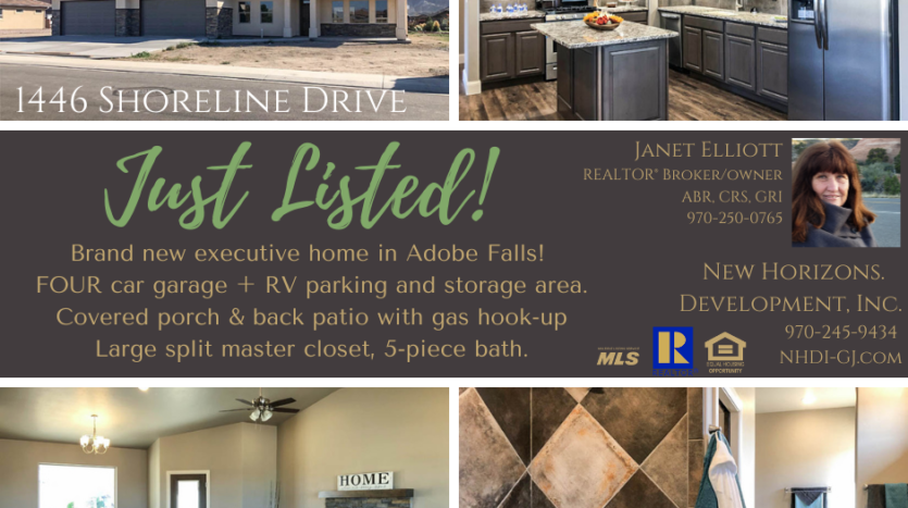 Just listed in Adobe Falls!  1446 Shoreline Drive is a 3 bedroom, 2 bath, 4 car garage home with RV parking. Covered patios on front and back, storage closet built in, and INCREDIBLE master closets!  This home is a must see! 