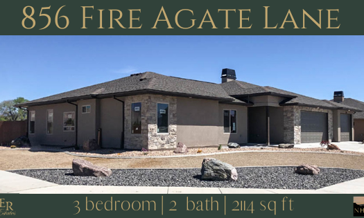 856 Fire Agate Lane is a 3 bedroom, 2 bath home with a 3 car garage, & RV parking. The living area has vaulted ceilings, and lots of windows facing east towards the Bookcliffs & Grand Mesa. Split bedroom design, with the Master Suite tucked away in the back, and the other bedrooms in the front. Kitchen includes appliances, island, and pantry.