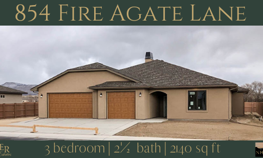 854 Fire Agate Lane is a 2140 square foot 3 bedroom, 2.5 bath home. Is is the Amethyst model in Emerald Ridge Estates.
