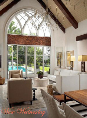 Rustic Luxe living area overlooking a pool