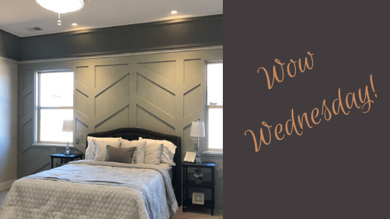 Soft gray paneling in a Master bedroom for today's Wow Wednesday!