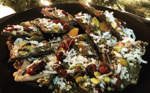 Apricot, Cranberry, and Pistachio Bark Recipe.