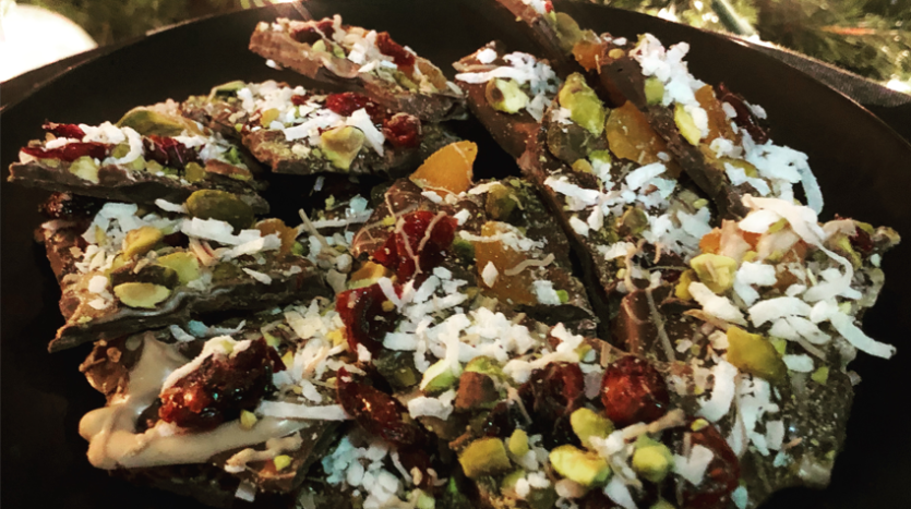 Apricot, Cranberry, and Pistachio Bark Recipe.