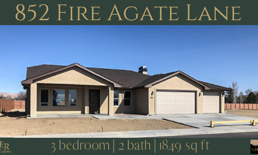 852 Fire Agate Lane is a 3 bedroom, 2 bath 1849 square foot home in Emerald Ridge Estates.