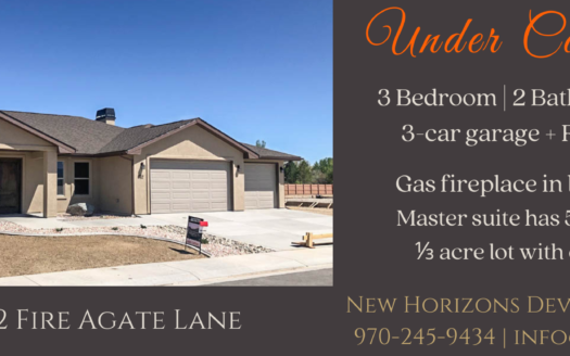 852 Fire Agate is Under Contract! 3 bedrooms, 2 baths, vaulted living & dining room, kitchen appliances included. Bonus storage room attached to outside of home. 3 car garage + RV parking!